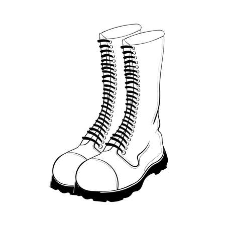 sexy army: Illustration of hand drawn military boots isolated on white background