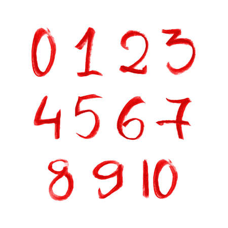 Illustration of hand red drawn chalk numbers set isolated on white background Illustration