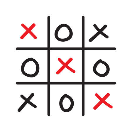 pedagogical: Illustration of hand drawn tic-tac-toe competition isolated on white background