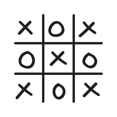 pedagogical: Illustration of hand drawn tic-tac-toe game isolated on white background