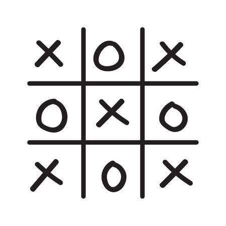 pedagogical: Illustration of hand drawn tic-tac-toe game isolated on white background