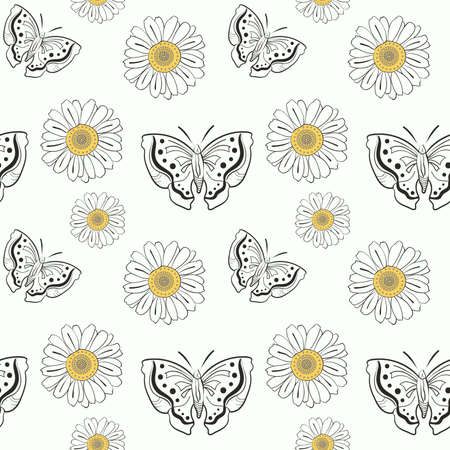 Illustration of seamless pattern with doodle butterflyes and daisy on white background Vector