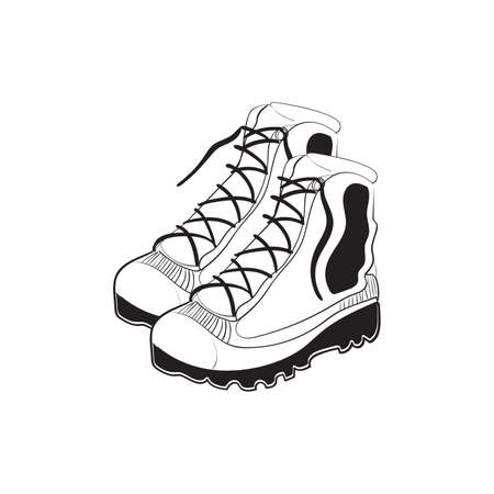 Illustration of hand drawn mountain boots isolated on white background Vector