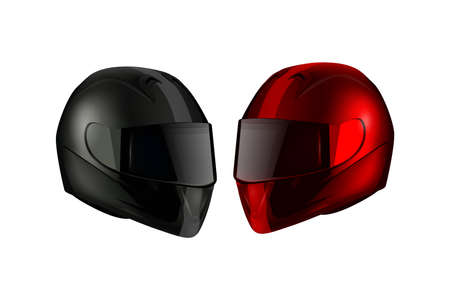 bicycle race: Realistic Detailed Motorcycle Helmets isolated on white background