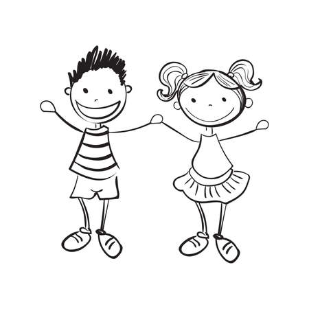 happy young woman: Illustration of hand drawn boy and girl isolated on white background