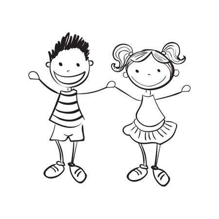 familias jovenes: Ilustración de dibujado a mano niño y una niña aislada sobre fondo blanco Vectores
