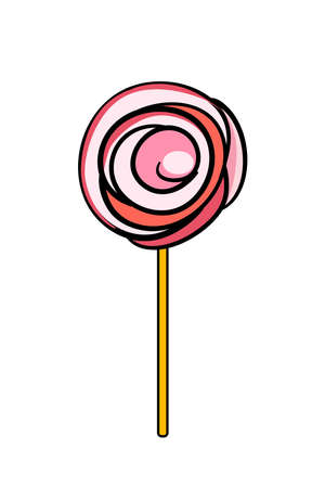 lollypop: Illustration of pink doodle lollypop isolated on white background