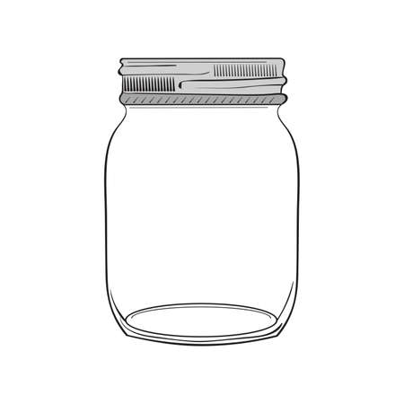 jar: Illustration of hand drawn jar isolated on white background