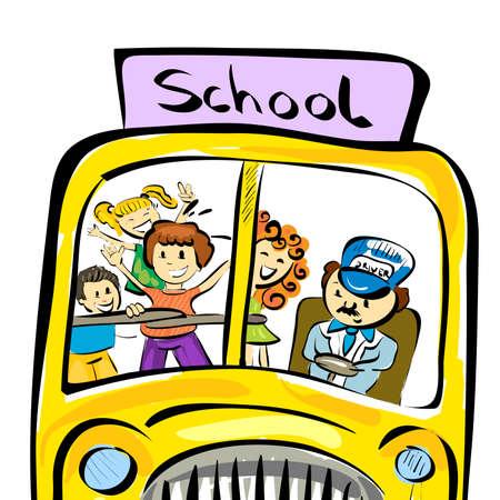 chofer de autobus: Ilustraci�n del autob�s escolar del doodle con los ni�os aislados en fondo blanco Vectores
