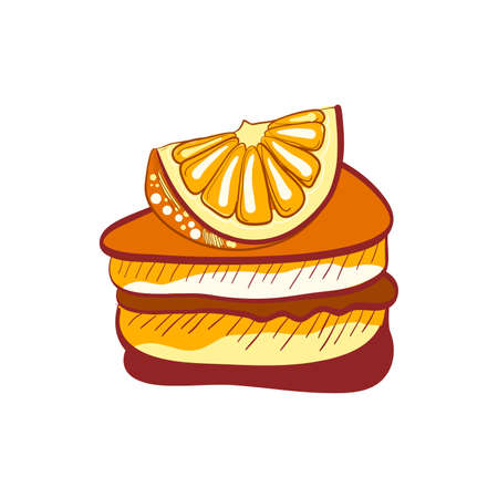 baked goods: Illustration of doodle orange cake slice isolated on white background Illustration