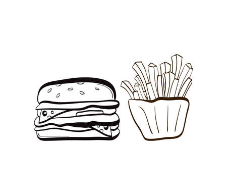 cucumber slice: Illustration of doodle burger and fries icon isolated on white background Illustration