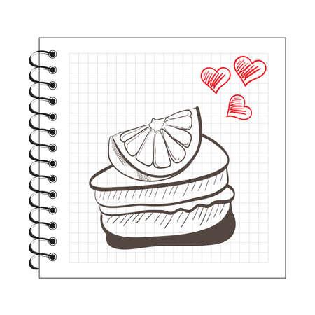 cake slice: Illustration of doodle orange cake slice on notebook paper