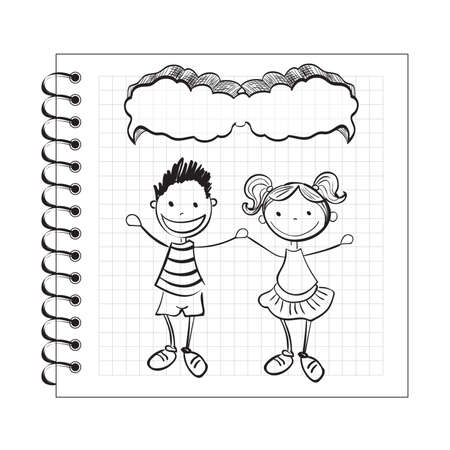 Illustration of doodle kids with speech bubble on notepad Illustration