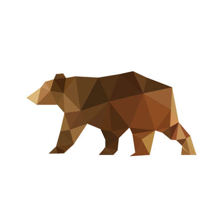 Illustration of modern flat design with origami bear isolated on white background