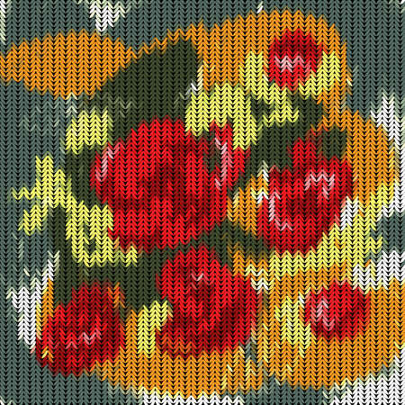 pigtail: Illustration of knitted pattern with roses on dark background Illustration