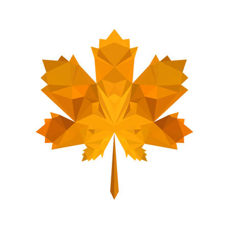 Illustration of flat origami autumn leaf isolated on white background