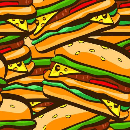 italian sausage: Illustration of seamless pattern with burgers Illustration