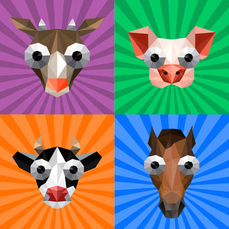 crazy hair: Illustration of funny origami set with farm animals on retro background