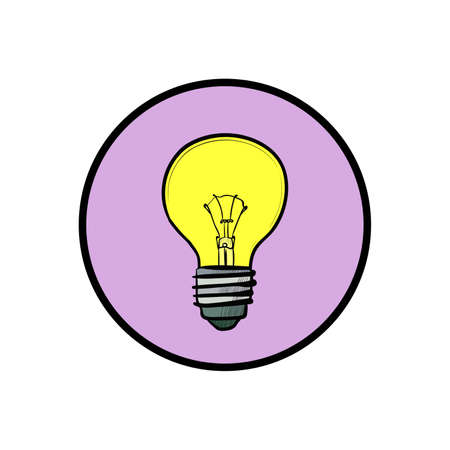 fluorescent lights: Illustration of modern flat design with yellow light bulb isolated on white background Illustration