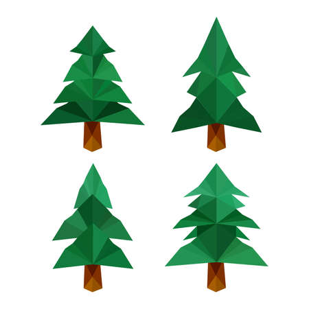 four: Collection of four different origami pine trees isolated on white background