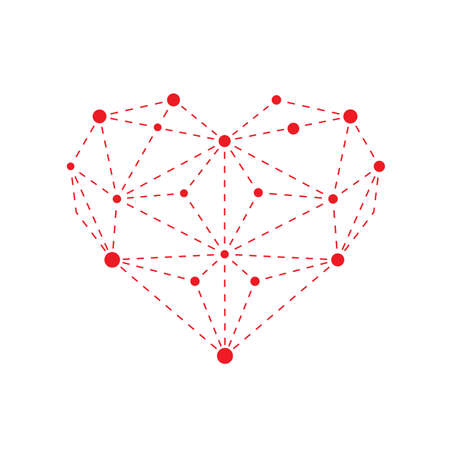 heart outline: Illustration of polygonal red heart outline isolated on white background