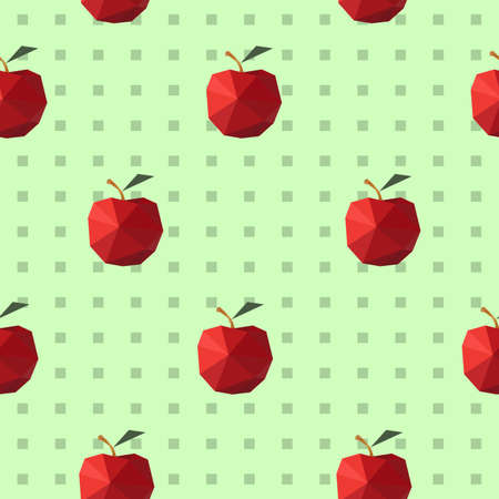 Modern flat pattern with seamless origami apples