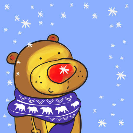valentine s day teddy bear: Illustration of cute bear with christmas scarf and doodle snowflakes