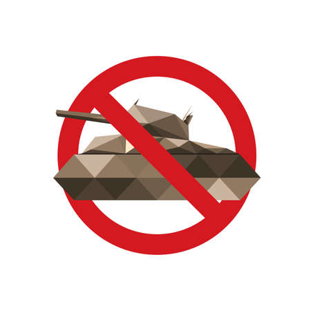 turret: Forbidden sign for military tanks isolated on white background