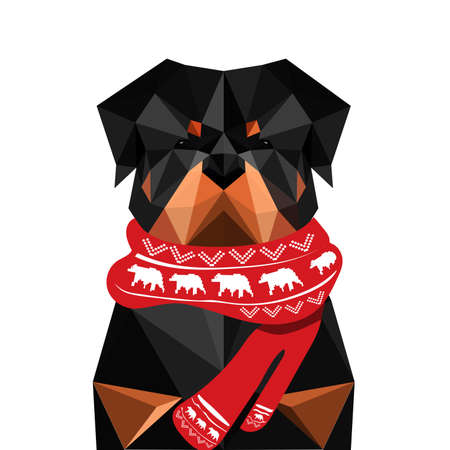 rottweiler: Illustration of origami rottweiler dog with christmas scarf isolated on white background