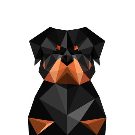 Illustration of origami rottweiler dog isolated on white background Illustration