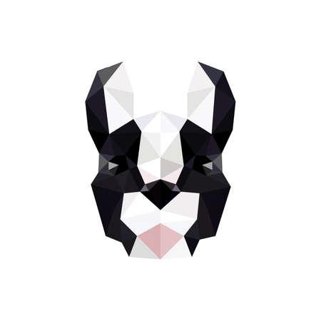 Diseño plano moderno con origami bulldog francés aislado en el fondo blanco Ilustración de vector