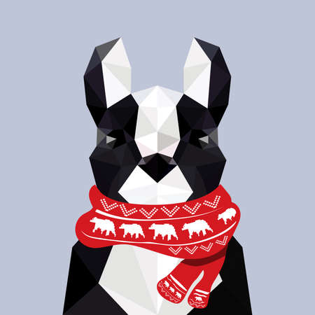 Modern flat design with origami french bulldog wearing Christmas scarf