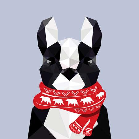 english bulldog: Modern flat design with origami french bulldog wearing Christmas scarf