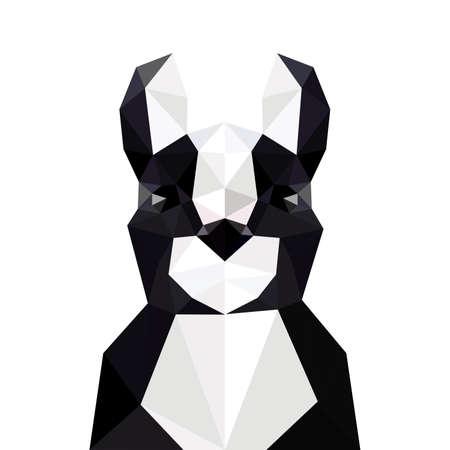 brawny: Illustration with origami french bulldog isolated on white background
