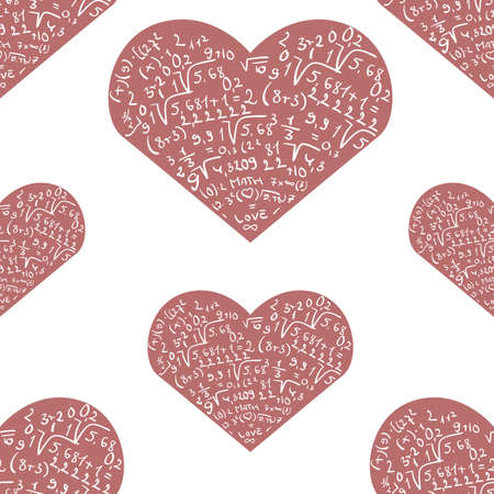 Seamless pattern with mathematics formula on pink heart shapes Illustration