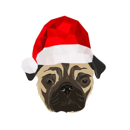 doggies: Illustration with doodle pug with origam christmas hat isolated on white background