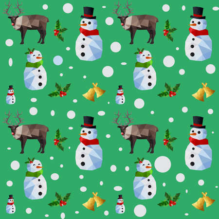 Christmas seamless pattern with snowman and reindeers on green background Illustration