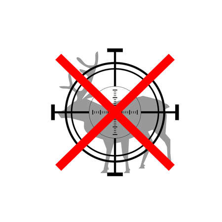 denial: Sign of prohibited hunting deer with crosshair