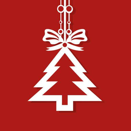 christmas postcard: Modern flat design with Christmas pine tree