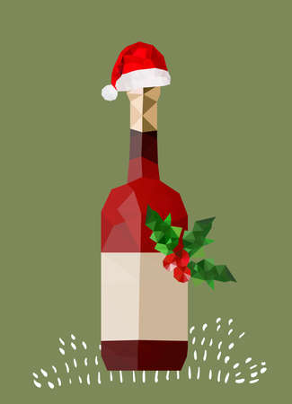 wine background: Illustration of origami wine bottle with christmas hat