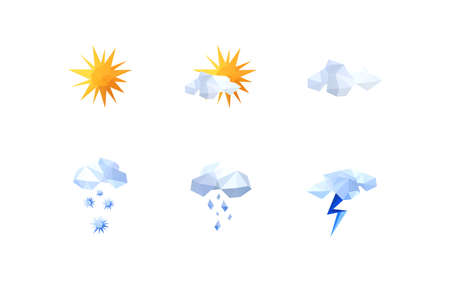airwaves: Collection of origami weather icons
