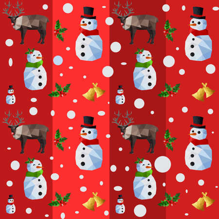 green tophat: Christmas seamless pattern with origami snowman and reindeers on red background