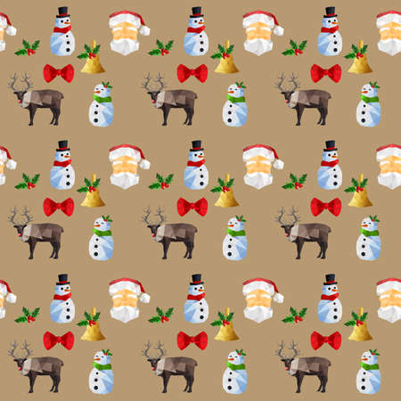 green tophat: Seamless background pattern with origami christmas objects Illustration