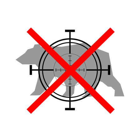 prohibited: Sign of prohibited hunting bear with crosshair Illustration