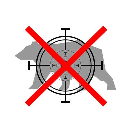 prohibido: Signo de oso de caza prohibida con forma de cruz