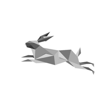 Illustration with origami jumping rabbit isolated on white background