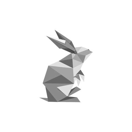 Illustration with origami rabbit symbol isolated on white background Illustration