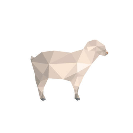 Modern flat design with origami lamb isolated on white background