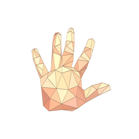psychic reading: Illustration of flat origami palm hand isolated on white background