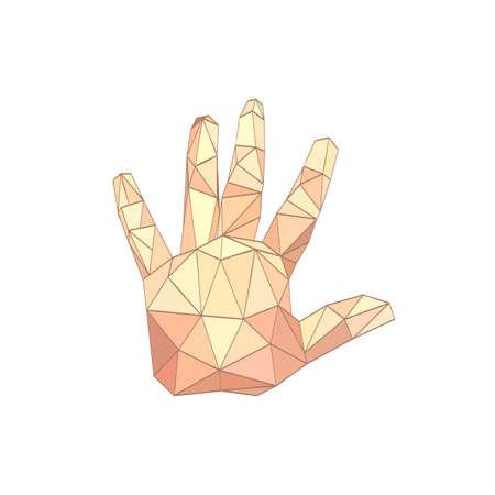 presage: Illustration of flat origami palm hand isolated on white background